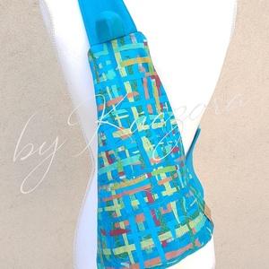Türkizkék - színes testtáska, Táska, Divat & Szépség, Táska, Válltáska, oldaltáska, Hátizsák, Tarisznya, Varrás, Újrahasznosított alapanyagból készült termékek, Türkiz, zöld, sárga, piros és narancs színű anyagokból, a kedvenc technikámmal készítettem a táska f..., Meska