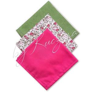 Textil zsebkendő szett, öko zsebkendő szett - pink, zöld, Táska & Tok, Pénztárca & Más tok, Zsebkendőtartó, Varrás, Textil zsebkendő - öko zsebkendő - pink, zöld\n\nFinom pamutvászonból készült zsebkendő szett, mely 3 ..., Meska