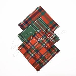 Textil zsebkendő szett, öko zsebkendő szett - piros, zöld kockás - Meska.hu