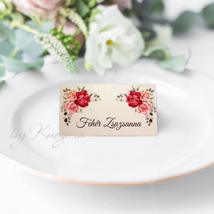 Esküvői ültetőkártya - burgundi rózsa, Esküvő, Meghívó & Kártya, Ültetési rend, Papírművészet, Meska