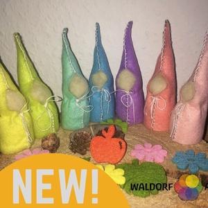 Waldorf Pasztell manók , Gyerek & játék, Játék, Játékfigura, Filcből készült, gyapjúval tömött, pamutcérnával varrt színes manók.. Játékfigurának, évszakasztalra..., Meska