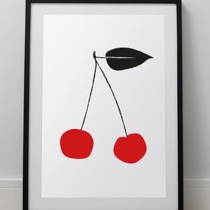 Cseresznye: nyomtatható pdf vagy papír nyomat, konyha dekoráció konyha dekorácoó - Meska.hu