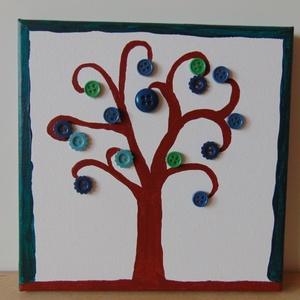 Türkiz gomb-fa , Otthon & lakás, Dekoráció, Kép, Képzőművészet, Vegyes technika, Festészet, Mindenmás, Festővászonra akril festékkel fát festettem, amit a kék és zöld árnyalataiban tündöklő gombokkal dís..., Meska