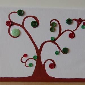 Piros és zöld gomb-fa, Otthon & lakás, Dekoráció, Kép, Képzőművészet, Napi festmény, kép, Vegyes technika, Festészet, Mindenmás, Festővászonra akrilfestékkel fát festettem, majd piros és zöld színű gombokkal díszítettem.\nMérete: ..., Meska