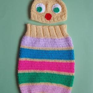Horgolt hernyó hálózsák kisbabáknak - ruha & divat - babaruha & gyerekruha - babafotózási ruha és kellék - Meska.hu