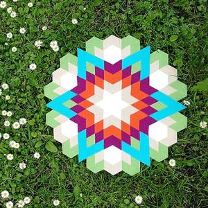Textil mozaik matrica készlet -MANDALA IV., Textil, Mozaik, Mindenmás, A caraWonga mandalái egy olyan DIY készlet, mely öntapadós, színes textil mozaik darabkákat tartalma..., Meska