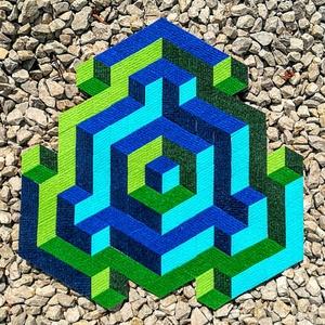 Textil mozaik matrica készlet - OP-ART I., Textil, Ragasztó, Mozaik, Mindenmás, A caraWonga OP-ART egy olyan DIY készlet, mely öntapadós, színes textil mozaik darabkákat tartalmaz ..., Meska