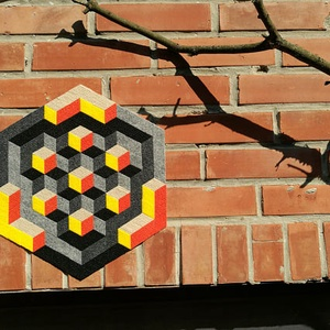 Textil mozaik matrica készlet- OP-ART II., Ragasztó, Textil, Mozaik, Mindenmás, A caraWonga mandalái egy olyan DIY készlet, mely öntapadós, színes textil mozaik darabkákat tartalma..., Meska