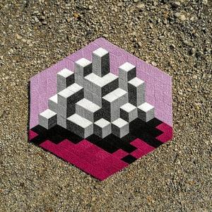 Textil mozaik matrica készlet - OP-ART III., Ragasztó, Textil, Mozaik, Mindenmás, A caraWonga mandalái egy olyan DIY készlet, mely öntapadós, színes textil mozaik darabkákat tartalma..., Meska