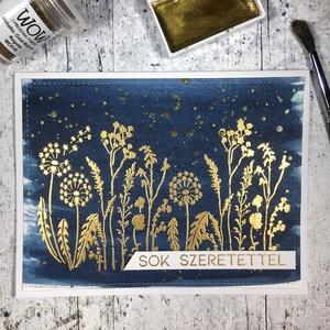 Sok szeretettel képeslap vízfestékkel , Képeslap & Levélpapír, Papír írószer, Otthon & Lakás, Papírművészet, Küldj egy borítéknyi szeretetet ezzel a képeslappal! \n\nMelegen sajtolt akvarell papírt sötétkék vízf..., Meska