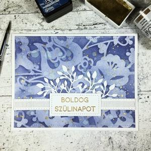 Születésnapi képeslap növényi motívumokkal, Képeslap & Levélpapír, Papír írószer, Otthon & Lakás, Papírművészet, Fejezd ki születésnapi jókívánságaidat ezzel a képeslappal! \n\nGyönyörű kék színű tintát  és nagy ala..., Meska