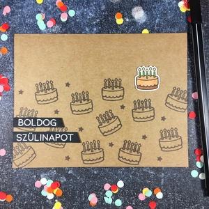Boldog szülinapot képeslap tortákkal  , Képeslap & Levélpapír, Papír írószer, Otthon & Lakás, Papírművészet, Küldj egy borítéknyi szeretetet /vagy tortát?/ ezzel a képeslappal! \n\nKraft papírra torta mintákat b..., Meska