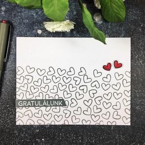 Gratulálunk képeslap szívecskékkel , Képeslap & Levélpapír, Papír írószer, Otthon & Lakás, Papírművészet, Küldj egy borítéknyi szeretetet /vagy szívecskéket?/ ezzel a képeslappal! \n\nFehér kartonpapírra szív..., Meska