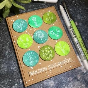 Boldog szülinapot doodle képeslap kézzel rajzolva , Képeslap & Levélpapír, Papír írószer, Otthon & Lakás, Papírművészet, Küldj egy borítéknyi szeretetet ezzel a képeslappal! \n\nKraft papírra festett korongokat ragasztottam..., Meska