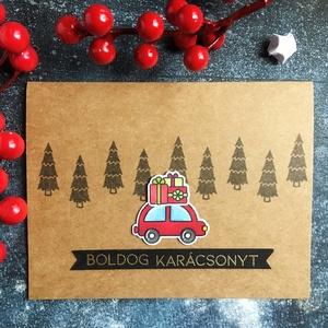 Boldog karácsonyt - piros autós képeslap, Otthon & Lakás, Papír írószer, Képeslap & Levélpapír, Papírművészet, Küldj egy borítéknyi szeretetet ezzel a képeslappal! \n\nHogy miért különleges ez a lap? Mert minden f..., Meska