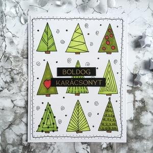 Boldog karácsonyt - karácsonyfás doodle képeslap, Otthon & Lakás, Papír írószer, Képeslap & Levélpapír, Papírművészet, Fejezd ki karácsonyi jókívánságaidat ezzel a képeslappal!\n\nEz a bohókás, karácsonyfás képeslap telj..., Meska