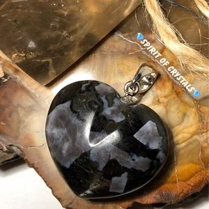 Gabbró (misztikus Merlinit) szív medál, Ékszer, Nyaklánc, Medál, Ékszerkészítés, Medál mérete: 3,9 x 3 x 1,1 cm \nKézzel készült eredeti ásvány ékszer. \nAjándék tisztítási, használat..., Meska