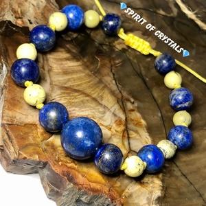 Lapis Lazuli - Szerpentin karkötő, Ékszer, Karkötő, Ékszerkészítés, Meska