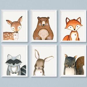 Erdei állatos falikép szett A4-as, 6db-os állatos dekoráció, Nyuszi, Róka, Őz, Maci, Mókus, Mosómedve falikép szett , Otthon & Lakás, Dekoráció, Falra akasztható dekor, Fotó, grafika, rajz, illusztráció, Erdei állatos 6 db-os falikép szett. A képek pdf formátumban kerülnek kiküldésre a vásárló email cím..., Meska