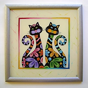 Hímes macskák falikép, Nászajándék, Esküvő, Képzőművészet, Otthon & lakás, Festmény, Festett tárgyak, Üvegművészet, Mivel ketten vannak, értelemszerűen hímes macskákok!:)\nA hímes macska mosolyfakasztó kedvességével é..., Meska