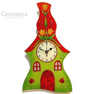 Tulipános tetejű zöld-piros házikó falióra, Otthon & lakás, Esküvő, Lakberendezés, Falióra, óra, Nászajándék, Romantikus, házikót formázó üvegfestett, egyedi készítésű falióra. A háztetőn a tulipános inda, mint..., Meska