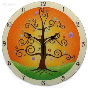 Életfa  falióra számlappal, Lakberendezés, Otthon & lakás, Falióra, óra, Esküvő, Nászajándék, Üvegművészet, Festett tárgyak, Az életfa az  életet jelképezi,  az örök változás, körforgás és megújulás szimbóluma.\nÖsszeköti a fö..., Meska