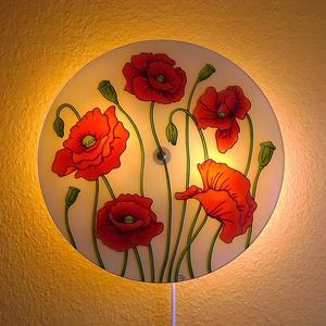 Pipacsok tánca fali lámpa - hangulatlámpa, Esküvő, Nászajándék, Lakberendezés, Otthon & lakás, Lámpa, Hangulatlámpa, Fali-, mennyezeti lámpa, Festett tárgyak, Üvegművészet, Pipacsok tánca egyedi, üvegre festett fali lámpa. \nSzívesebben nevezem látványlámpának, mivel nappal..., Meska