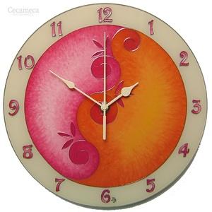 Lélekvirág falióra - napfelkelte - rózsaszín - narancs, Otthon & lakás, Lakberendezés, Falióra, óra, Dekoráció, Kép, Üvegművészet, Festészet, Üvegre festett, egyedi készítésű falióra, mely a LélelkVirág sorozat egyik eleme.\nA spirál motívum a..., Meska