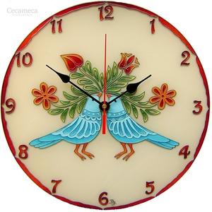 Szerelemmadarak falióra - kérheted felirattal, Otthon & lakás, Lakberendezés, Esküvő, Nászajándék, Falióra, óra, Festett tárgyak, A madarak a boldogság kék madarait, a szerelemmadarakat szimbolizálják. \nA madár motívum ősi magyar ..., Meska