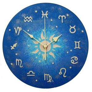 Asztro óra - 12 zodiákussal, Lakberendezés, Otthon & lakás, Falióra, óra, Esküvő, Nászajándék, Festett tárgyak, Üvegművészet, Tizenkét zodiákus szimbólum jelöli az órákat a számlapon. A jegyek tizenkét részre osztják az eklipt..., Meska