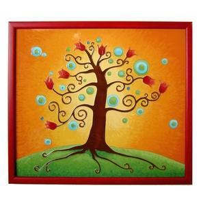 Tulipános életfa falikép, Esküvő, Otthon & lakás, Nászajándék, Lakberendezés, Falikép, Képzőművészet, Festmény, Életfát ábrázoló, üvegfestett falikép. Az életfa az életet jelképezi, a változást, a növekedést, a f..., Meska