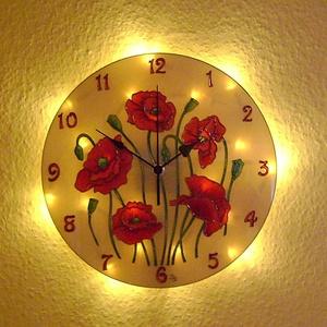 Pipacsok tánca falióra világítással, Otthon & Lakás, Falióra & óra, Dekoráció, Nappal falióra, ha eljön az este és bekapcsolod a világítást, varázslatos fényekkel tölti meg a szob..., Meska