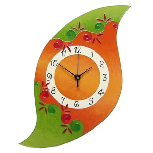 Lélekvirág falióra - narancs-zöld, Otthon, lakberendezés, Dekoráció, Képzőművészet, Falióra, óra, Festett tárgyak, Üvegművészet, Üvegre festett, egyedi készítésű falióra, mely a LélelkVirág sorozat egyik eleme.  A spirál motívum..., Meska
