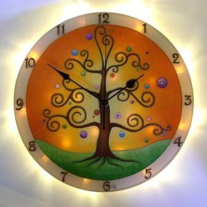 Életfa  falióra világítással, Falióra & óra, Dekoráció, Otthon & Lakás, Üvegművészet, Festett tárgyak, Nappal falióra, ha eljön az este és bekapcsolod a világítást, varázslatos fényekkel tölti meg a szob..., Meska