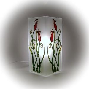 Szerelemtulipánok hangulatlámpa - asztali lámpa, Otthon, lakberendezés, Esküvő, Lámpa, Nászajándék, Festett tárgyak, Romantikus, egymás felé hajló, egymásba karoló tulipánok díszítik ezt a hangulatlámpát.  Képi szimb..., Meska