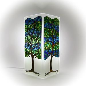 Mozaikfa hangulatlámpa - asztali lámpa - Életfa, Otthon, lakberendezés, Esküvő, Lámpa, Nászajándék, Festett tárgyak, Elegáns kék és zöld árnyalatokban pompázó mozaikfák teszik hangulatossá ezt a modern lámpát.  Az él..., Meska