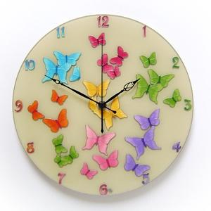 Pillangók tánca falióra, Otthon, lakberendezés, Esküvő, Falióra, óra, Nászajándék, Üvegművészet, Festett tárgyak, A pillangó szó jelentése ógörög fordításban lélek is. A pillangó törékeny, rebbenő, megfoghatatlan,..., Meska