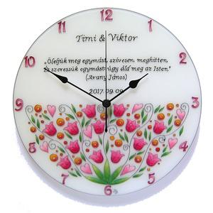 Feliratos nászajándék falióra - virágos, Otthon & lakás, Esküvő, Lakberendezés, Falióra, óra, Nászajándék, Üvegre festett, egyedi, feliratozható, nagy méretű falióra, romantikus virágokkal.  Ez az óra kedves..., Meska