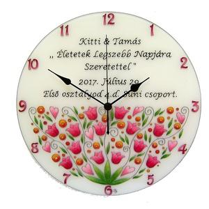 Feliratos nászajándék falióra - virágos (cecameca) - Meska.hu