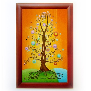 Szerelemfa - névre szóló életfa  falikép - gyökerekkel kiírt nevekkel, felirattal - nászajándék, évforduló ajándék, Nászajándék, Emlék & Ajándék, Esküvő, Festett tárgyak, Üvegművészet, Sokszor elgondolkodunk, egy-egy nagy esemény kapcsán, hogyan tehetnénk az alkalomhoz illő ajándékot ..., Meska