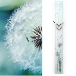 Pitypangok - design üveg óra - hosszú, keskeny forma, Otthon & lakás, Esküvő, Lakberendezés, Nászajándék, Falióra, óra, Ez az óra kézzel festett, különleges formája és mérete mindenképpen felhívja mindenkinek a figyelmét..., Meska