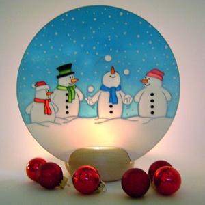 Vidám Hóemberek képes mécses - karácsonyi dekoráció, Dekoráció, Karácsonyi, adventi apróságok, Otthon, lakberendezés, Ünnepi dekoráció, Karácsonyi dekoráció, Gyertya, mécses, gyertyatartó, Festett tárgyak, Romantikus, téli hangulatot idéző, egyedi készítésű üvegre festett képes mécses. Az üveglap mögötti..., Meska