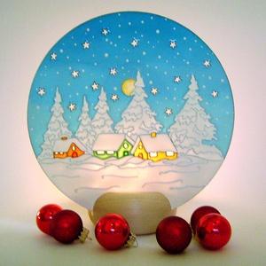 Téli táj képes mécses - ünnepi dekoráció, Dekoráció, Karácsonyi, adventi apróságok, Otthon, lakberendezés, Ünnepi dekoráció, Karácsonyi dekoráció, Gyertya, mécses, gyertyatartó, Festett tárgyak, Romantikus, téli hangulatot idéző, egyedi készítésű üvegre festett képes mécses. Az üveglap mögötti..., Meska