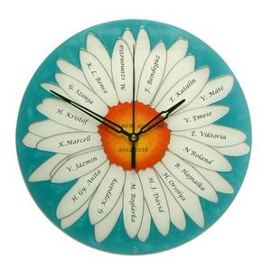 Ballagási, vagy búcsúajándék - feliratos virág óra - pedagógusnak, Lakberendezés, Otthon & lakás, Falióra, óra, Dekoráció, Kép, Esküvő, Nászajándék, Üvegművészet, Festett tárgyak, Kézzel festett, egyedi, üveg falióra.\n\nAz órát úgy álmodtam meg, hogy alkalmas legyen ballagási aján..., Meska