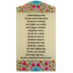 Családi békesség titkai - házi áldás, Esküvő, Nászajándék, Lakberendezés, Otthon & lakás, Falikép, Dekoráció, Kép, Festett tárgyak, Üvegművészet, Egyedi, kézzel festett kép, a házi áldásokhoz hasonló felirattal.\n\nMegrendelésre készül. Az elkészít..., Meska