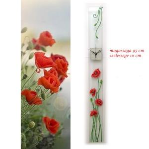 Piros pipacsok - design üveg óra -  95 x 10 cm, Lakberendezés, Otthon & lakás, Falióra, óra, Esküvő, Nászajándék, Képzőművészet, Festmény, Üvegművészet, Festett tárgyak, Lépj ki a megszokottból!\nVarázsold át életteredet egészen különlegessé!\n\nEz a design óra tökéletesen..., Meska
