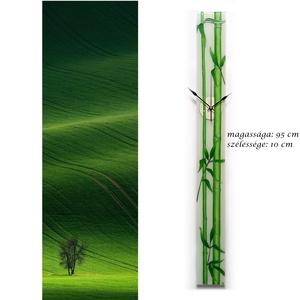 Bambuszok- design üveg óra -  95 x 10 cm, Otthon & lakás, Lakberendezés, Falióra, óra, Esküvő, Nászajándék, Képzőművészet, Festmény, Üvegművészet, Festett tárgyak, Újabb design óra született, ezúttal a bambuszok álltak modellt nekem:)\n\nA bambusz Kínában tisztelt n..., Meska