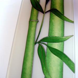 Bambuszok- design üveg óra -  95 x 10 cm (cecameca) - Meska.hu