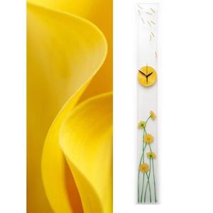 Sárga virágok - design üveg óra - hosszú, keskeny forma, Otthon & lakás, Esküvő, Lakberendezés, Nászajándék, Falióra, óra,   Ez a design óra tökéletesen alkalmas rendhagyó hatás elérésére és keskeny felületek díszítésére.  ..., Meska