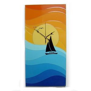 Balaton, hajó, naplemente falióra, Otthon & lakás, Lakberendezés, Falióra, óra, Képzőművészet, Festmény, Üvegművészet, Festészet, Egyedi készítésű, üvegre festett falióra.\n\nCsodás színei a mély kéktől a türkizig, majd a napsárgátó..., Meska